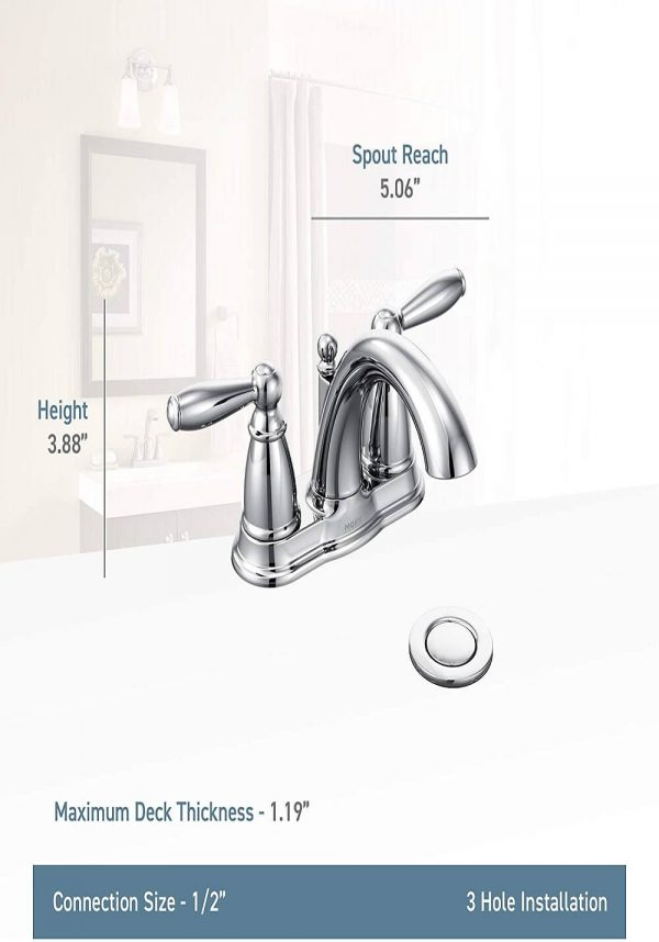 Centerset Bathroom Faucet with Drain Assembly 2