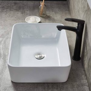 Counter White Ceramic Bathroom Vessel Sink